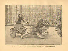 Chicago, IL. Circus, Lion Tamer, Chariot, Vintage 1894 German Antique Art Print