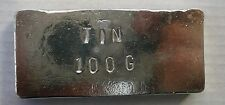 Tin metal, 100g ingot for casting, alloying, collectors