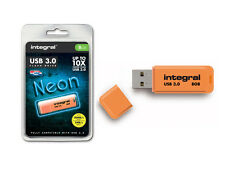 Integral 8GB Neon USB 3.0 Flash Drive in Orange - Up To 10X Faster Than USB 2.0.