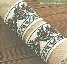 Holly Napkin Rings Christmas Holiday Cross Stitch Kit DMC