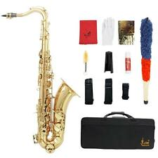 LADE Brass Bb Tenor Saxophone Sax Wind Instrument with Case Accessories Kit K4U8