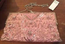 Pretty MOYNA Pink Beaded & Embroidered Formal Clutch With Metal Chain!