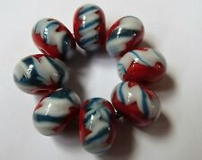 8 RED WITH WHITE/BLUE TWISTIE  LAMPWORK BEADS  SRA