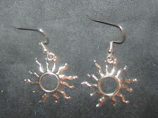 USA SELLER NEW WICCAN 25mm SILVER SOL SUN RAY CHARM DANGLE EARRINGS