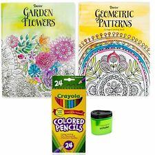 2 Coloring Books For Adults + Crayola Colored Pencils (24) + Pencil Sharpener