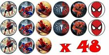 48 x 3cm Spiderman Fairy Cup Cake Toppers Edible Rice Wafer Paper