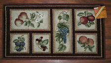 20X34 Kitchen Rug Mat Burgundy Beige Washable Fresh Fruit Grapes Pears Apples