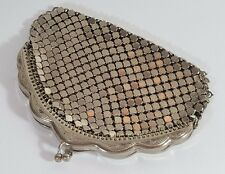 ANTIQUE VINTAGE ENGRAVED SILVER PLATED MESH MAIL METAL LINK COIN PURSE c1930