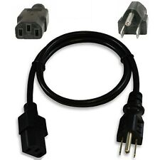 3ft 18awg Short Standard Power Cord/Cable/Wire PC/TV IEC320 C13 10A 125V $SHdisc