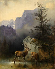Hand painted Oil painting wild animals deer Bucks his wife doe in A landscape