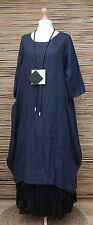 LAGENLOOK AMAZING 100% LINEN BALLOON 2 POCKETS LONG DRESS* NAVY *BUST UP TO 46""