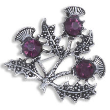 New Miracle Pewter Purple Crystal Triple Scottish Thistle Brooch UK Made