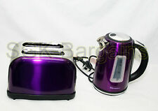 Matching Kitchen Set 1.7L Electric Cordless Kettle 2 Slice Bagel Toaster PURPLE