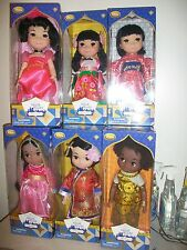 "Lot of 6 Disney Store Small World Singing 16"" Dolls India - France - Japan"