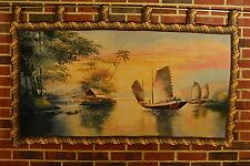 Classic Nautical Ships Sails Woven Picture Tapestry Wall Hanging Art Home Decor
