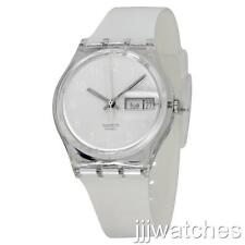 New Swatch Women Snowcovered Day Date Silicone White Watch 35mm GK733