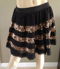 Free People Black with Gold Sequin Stripes Mini Skirt Size M MSRP: $128.00