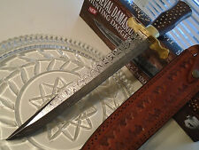 "Timber Wolf Custom Medieval Damascus Hunting Dagger Bowie Knife Rosewood 16"" OA"