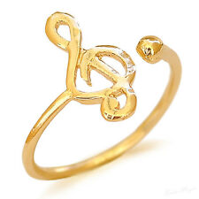 Yellow Gold Filled 14k Ring Treble Clef Warranty Adjustable Wrap Artisan Unusual