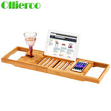 Ollieroo Bathtub Rack Bamboo Shelf Shower Tub Book Tray Holder Stand Expandable