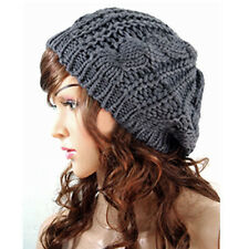 Fashion Warm Winter Womens Knit Crochet Ski Hat Braided Baggy Beret Beanie Cap