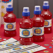 """Hero Juice"" Bottle Labels / Stickers, Boys Superhero Birthday Party, pack of 12"