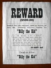 "(781) OLD WEST OUTLAW BILLY the KID DESPERADO $500 REWARD REPRINT POSTER 11""x14"""