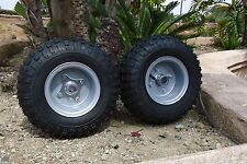 "(2) GO KART TIRES AND 2 PIECE WHEEL RIMS ASSEMBLYS 145 70 6   1"" LIVE AXLE HUBS"