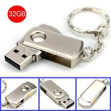 32GB 32G Stainless Metal Swivel USB Key Ring Memory Stick Flash Storage Drive