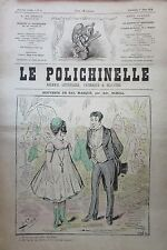CARICATURE SOUVENIR DE BAL MASQUE JOURNAL SATIRIQUE LE POLICHINELLE N° 3 de 1874