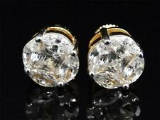 Mens Ladies White Gold Finish Round Solitaire Lab Diamond Stud Earrings 10mm