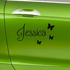 2 x Personalised Name Vinyl Car Stickers With Butterflies Custom Name Decals