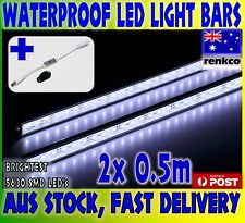 2X12V Waterproof Cool White 5630 Led Strip Lights Bars Car Camping Boat+Dimmer