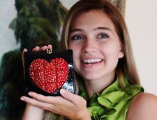 TIMMY WOODS MINAUDIERE SWAROVSKI CRYSTAL RED HEART OF GOLD CLUTCH CROSS BODY BAG