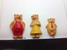 3 Vintage Plaster Chalkware Bear Wall Plaques Sculptures Daddy Mama Baby