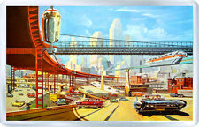 RETRO FUTURISM CITY FRIDGE MAGNET NEW