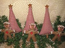 HANDMADE COUNTRY CHRISTMAS FABRIC GINGERBREAD PRIM TREE BOWL FILLERS DECOR