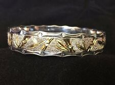 Vtg Hawaiian Bracelet Bangle Lucky Bamboo 925 Sterling Silver Gold 10mm Hawaii