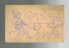 1919 Poland Drawn Postcard Feldpost Cover Soldiers with Pig