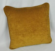 """Custom Pillow made with Dark Gold Faux Suede Fabric 16""""x 16"""" trim self cording"""