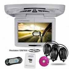 "11.3"" Gray Car Roof Mount Overhead Monitor DVD Player Games FM USB Headsets HDMI"