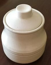 USA Ribbed Specked Pottery Jar With Lid