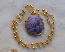 Antique HAND PAINTED Violets Porcelain PENDANT  Necklace Pyrite Vermeil Chain +