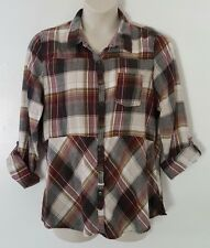 Maurices Red Brown Black Plaid 3/4 Cuff Sleeve Empire Waist Top Blouse Size XXL