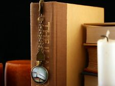 Ornate Golden Finish Bookmark Cabochon Book Stack, Chains, and Letter With Love
