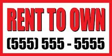 2'x4' RENT TO OWN CUSTOM NUMBER Sign Vinyl Banner