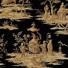 Wallpaper Designer Golden Tan Brown Asian Toile on Black