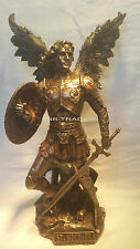 Archangel- Saint St. Michael Standing On Demon W Sword & Shield Statue Sculpture