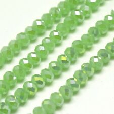95 pcs  RONDELLE FACETED GLASS CRYSTAL BEADS 6mm Green jewellery