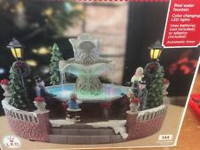 Christmas Village Color Changing LED  Real Working Holiday Water Fountain